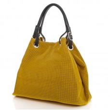 Italská perforovaná kožená kabelka síto jemná hovězí kůže žlutá  BR551