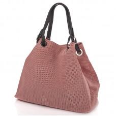 Italská perforovaná kožená kabelka síto jemná kůže růžová BR551