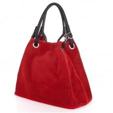 Italská perforovaná kožená kabelka síto jemná kůže tmavě červená barva BR551