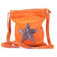Kabelka italská malá velur motiv hvězda oranžová crossbody BR619 Malé kabelky