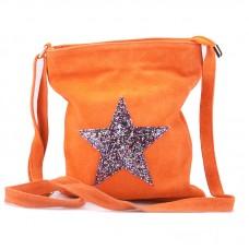 Kabelka italská malá velur motiv hvězda oranžová crossbody BR619