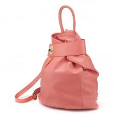 Kožený batoh italský trendy design růžový BR611 Baťůžky