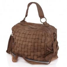 Luxusní kabelka italská telecí úseň sauvage hnědá vzor šachovnice BR612