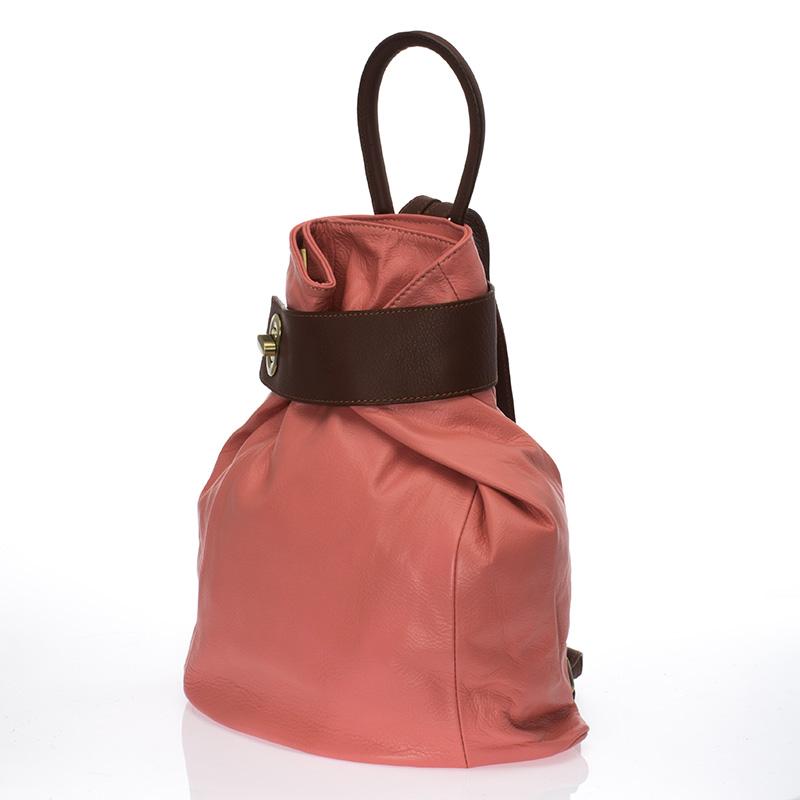 Kožený batoh italský trendy design růžový kombinace hnědá BR611 Baťůžky ... 2eaaefd388