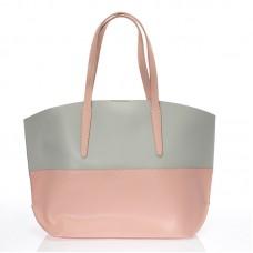Italská dámská kožená kabelka světle růžová kombinace šedá pole BR707 Přes rameno