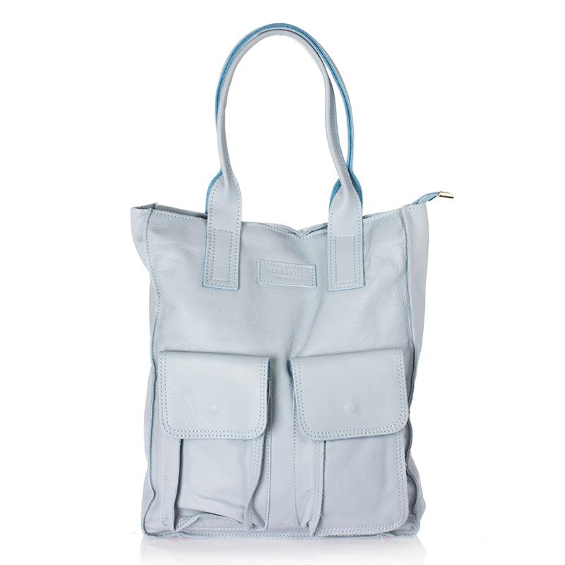 23b8555189 Italská dámská kožená kabelka světle modrá do ruky BR712
