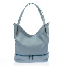 Italská dámská kožená kabelka kovově modrá na rameno BR727 Přes rameno