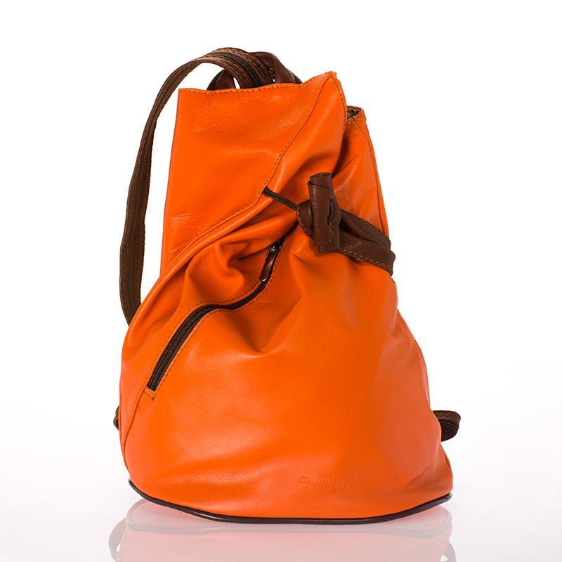 Kožený batoh italský menší design tmavě oranžový kombinace hnědá BR724 33146fffd0