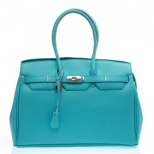Italská dámská kabelka kožená světle modrá do ruky  BR702 Kabelky do ruky