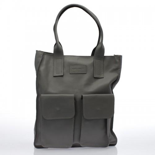 Italská dámská kožená kabelka šedá do ruky BR712 Přes rameno