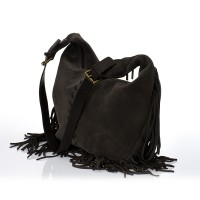 Italská dámská kožená kabelka tmavě hnědá crossbody velur BR706