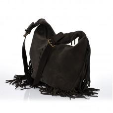 Italská dámská kožená kabelka tmavě hnědá crossbody velur BR706 Crossbody kabelky