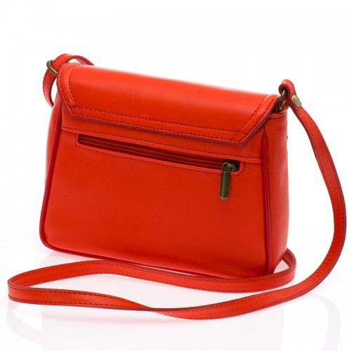 Italská kožená klopová kabelka oranžová BR527 Crossbody kabelky