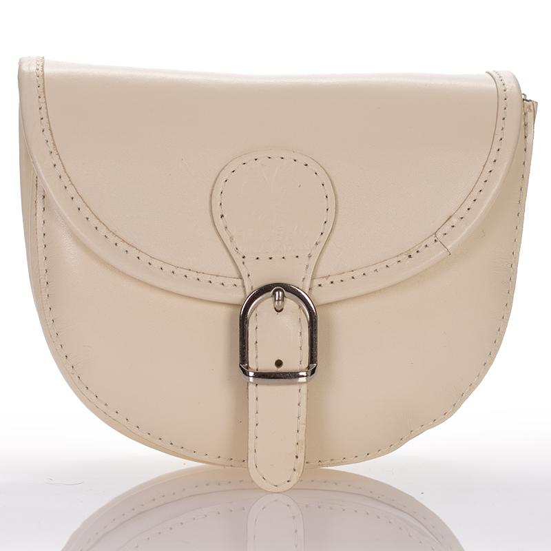 2899c56477 Italská dámská kožená kabelka malá béžová klopová kulatá crossbody BR919