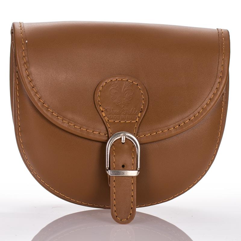 Italská dámská kožená kabelka malá modrá klopová kulatá crossbody BR919 2eaebe86de7