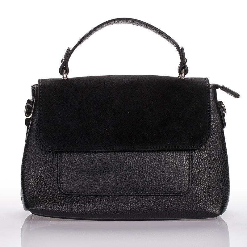 Italská dámská kožená kabelka černá crossbody kombinovaná BR903 28525c68761