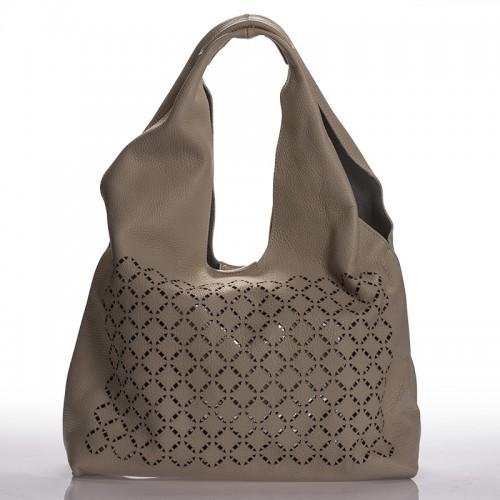 Italská dámská kožená kabelka béžová na rameno s prosekem BR907