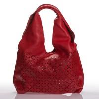 Italská dámská kožená kabelka červená na rameno s prosekem BR907