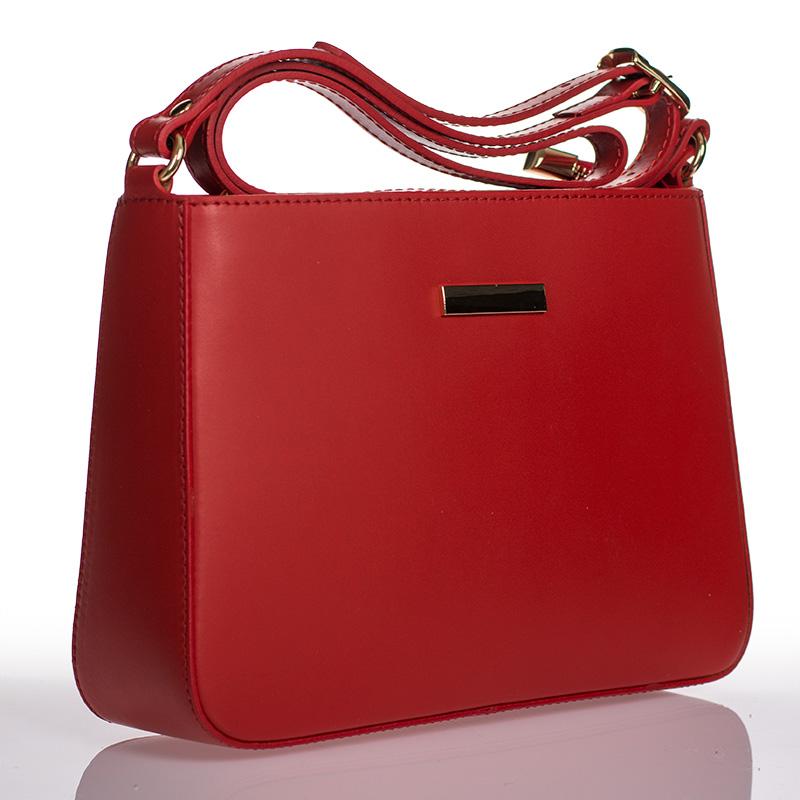 abb593048 Italská dámská kožená kabelka červená crossbody lakovaná BR910