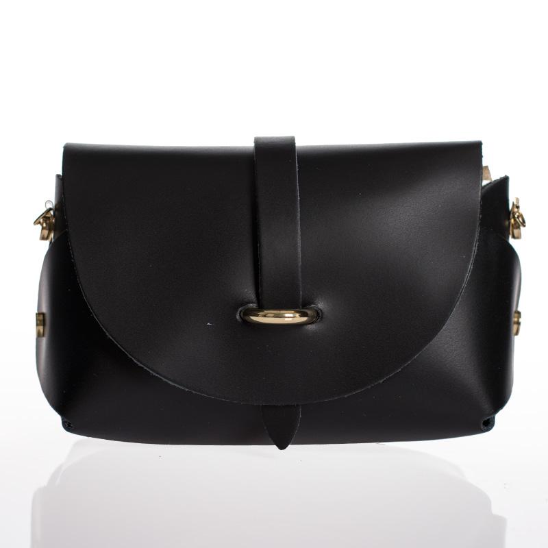 a8f1c9bb95 Italská dámská kožená kabelka černá crossbody lakovaná BR911
